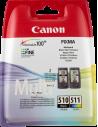Cartuccia Originale Multipack CANON PG 510 CL 511 | 9ml (BK) 9ml (CMY) | PG-510 + CL-511 - Vendita online - Inkjet