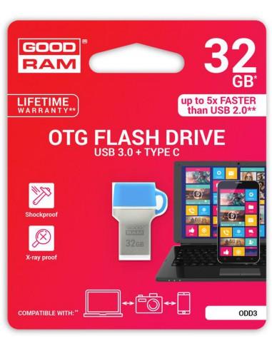 GoodRAM 32GB USB 3.0 + type C DUALDRIVE con cappuccio blu
