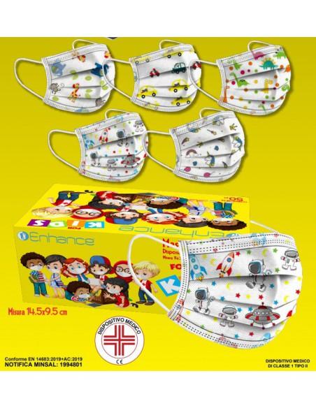 Mascherina bambini chirurgica fantasia - confezione da 5x10